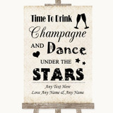 Shabby Chic Ivory Drink Champagne Dance Stars Customised Wedding Sign