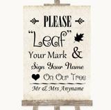 Shabby Chic Ivory Fingerprint Tree Instructions Customised Wedding Sign