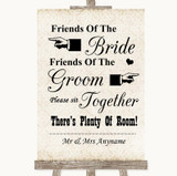 Shabby Chic Ivory Friends Of The Bride Groom Seating Customised Wedding Sign