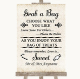 Shabby Chic Ivory Grab A Bag Candy Buffet Cart Sweets Customised Wedding Sign