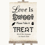 Shabby Chic Ivory Love Is Sweet Take A Treat Candy Buffet Wedding Sign