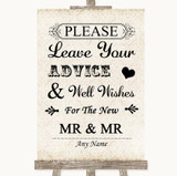 Shabby Chic Ivory Guestbook Advice & Wishes Gay Customised Wedding Sign