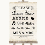 Shabby Chic Ivory Guestbook Advice & Wishes Lesbian Customised Wedding Sign