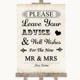 Shabby Chic Ivory Guestbook Advice & Wishes Mr & Mrs Customised Wedding Sign