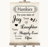 Shabby Chic Ivory Hankies And Tissues Customised Wedding Sign