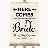 Shabby Chic Ivory Here Comes Bride Aisle Sign Customised Wedding Sign