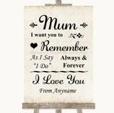 Shabby Chic Ivory I Love You Message For Mum Customised Wedding Sign