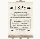Shabby Chic Ivory I Spy Disposable Camera Customised Wedding Sign