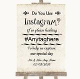 Shabby Chic Ivory Instagram Photo Sharing Customised Wedding Sign