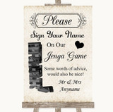 Shabby Chic Ivory Jenga Guest Book Customised Wedding Sign