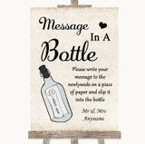 Shabby Chic Ivory Message In A Bottle Customised Wedding Sign