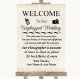 Shabby Chic Ivory No Phone Camera Unplugged Customised Wedding Sign