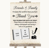 Shabby Chic Ivory Photo Guestbook Friends & Family Customised Wedding Sign