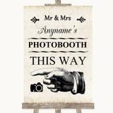 Shabby Chic Ivory Photobooth This Way Left Customised Wedding Sign