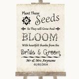 Shabby Chic Ivory Plant Seeds Favours Customised Wedding Sign
