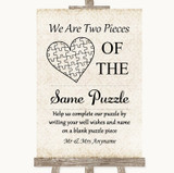 Shabby Chic Ivory Puzzle Piece Guest Book Customised Wedding Sign