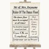 Shabby Chic Ivory Rules Of The Dancefloor Customised Wedding Sign