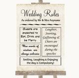 Shabby Chic Ivory Rules Of The Wedding Customised Wedding Sign