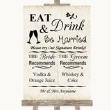 Shabby Chic Ivory Signature Favourite Drinks Customised Wedding Sign