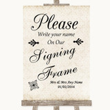 Shabby Chic Ivory Signing Frame Guestbook Customised Wedding Sign