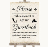 Shabby Chic Ivory Take A Moment To Sign Our Guest Book Customised Wedding Sign