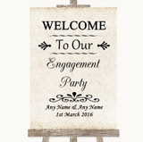 Shabby Chic Ivory Welcome To Our Engagement Party Customised Wedding Sign