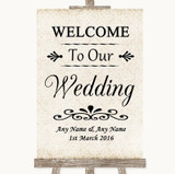 Shabby Chic Ivory Welcome To Our Wedding Customised Wedding Sign