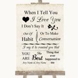 Shabby Chic Ivory When I Tell You I Love You Customised Wedding Sign