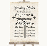 Shabby Chic Ivory Who's Who Leading Roles Customised Wedding Sign