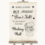 Shabby Chic Ivory Wishing Well Message Customised Wedding Sign