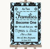 Sky Blue Damask As Families Become One Seating Plan Customised Wedding Sign