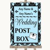 Sky Blue Damask Card Post Box Customised Wedding Sign