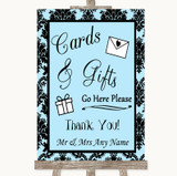 Sky Blue Damask Cards & Gifts Table Customised Wedding Sign