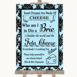 Sky Blue Damask Cheese Board Song Customised Wedding Sign