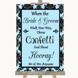 Sky Blue Damask Confetti Customised Wedding Sign