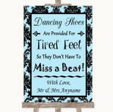 Sky Blue Damask Dancing Shoes Flip-Flop Tired Feet Customised Wedding Sign