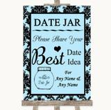 Sky Blue Damask Date Jar Guestbook Customised Wedding Sign