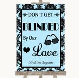 Sky Blue Damask Don't Be Blinded Sunglasses Customised Wedding Sign
