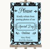 Sky Blue Damask Don't Post Photos Online Social Media Customised Wedding Sign