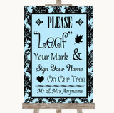 Sky Blue Damask Fingerprint Tree Instructions Customised Wedding Sign
