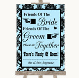 Sky Blue Damask Friends Of The Bride Groom Seating Customised Wedding Sign