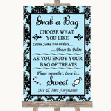 Sky Blue Damask Grab A Bag Candy Buffet Cart Sweets Customised Wedding Sign