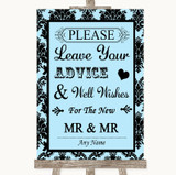 Sky Blue Damask Guestbook Advice & Wishes Gay Customised Wedding Sign