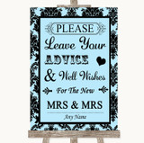Sky Blue Damask Guestbook Advice & Wishes Lesbian Customised Wedding Sign