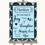 Sky Blue Damask Hankies And Tissues Customised Wedding Sign