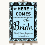 Sky Blue Damask Here Comes Bride Aisle Sign Customised Wedding Sign