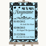 Sky Blue Damask Important Special Dates Customised Wedding Sign
