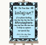 Sky Blue Damask Instagram Photo Sharing Customised Wedding Sign