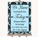 Sky Blue Damask Loved Ones In Heaven Customised Wedding Sign