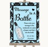 Sky Blue Damask Message In A Bottle Customised Wedding Sign